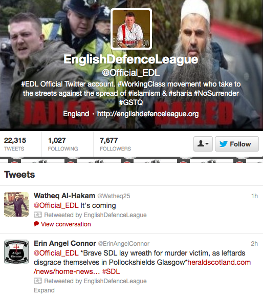 Official Twitter page of the English Defence League